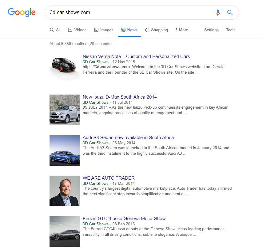 Google News Results 3D Car Shows