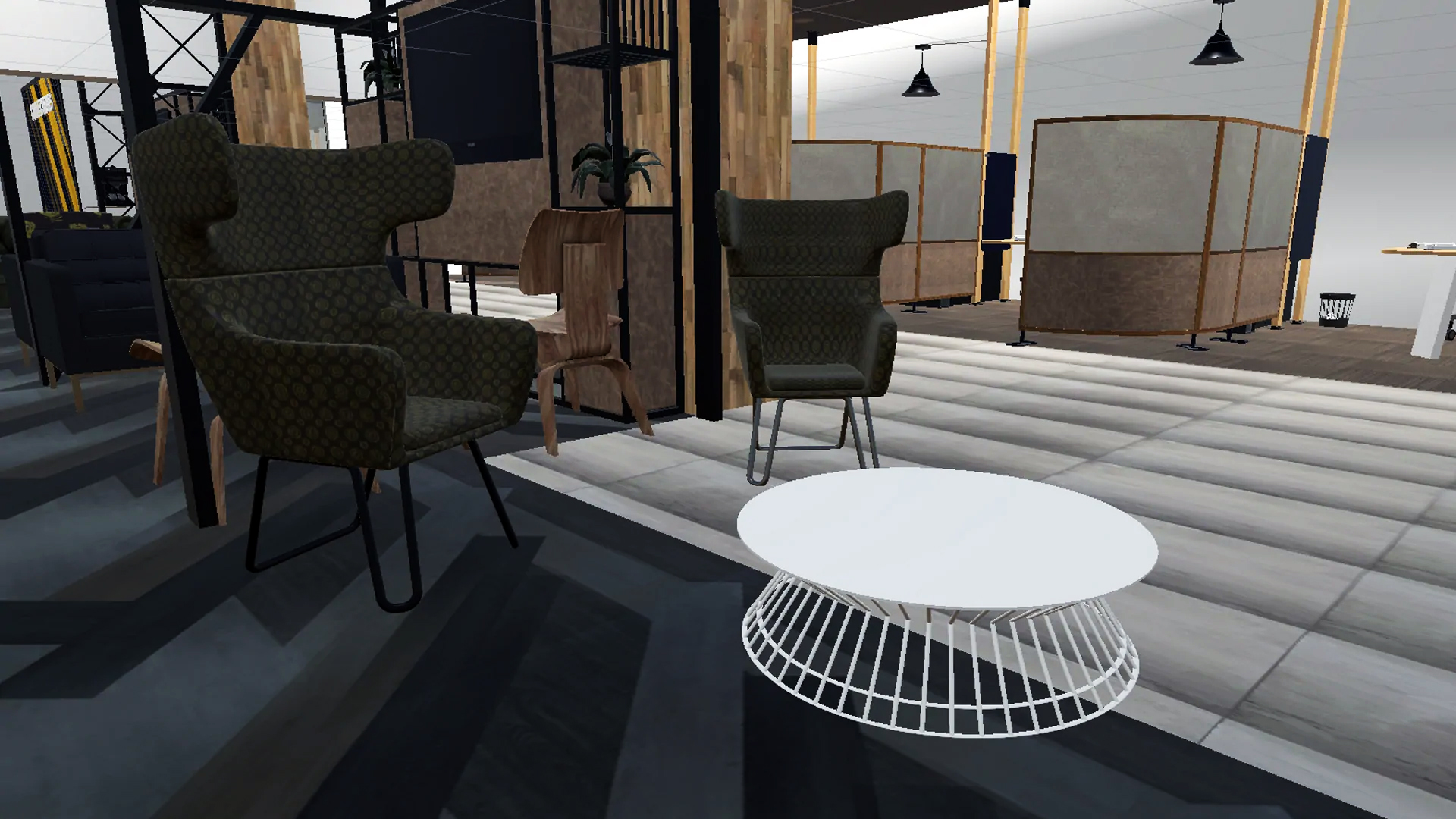3d Render Model of furniture in the bank